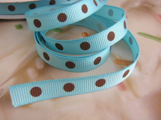 3/8 Inch Wide Blue Grosgrain Ribbon Brown Polka Dots  5 Yards