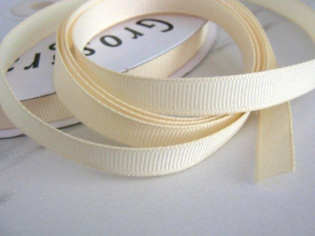 3/8 Inch Wide Ivory Cream Grosgrain Ribbon Trim 5 Yards