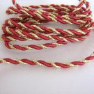 Red Burgandy and Gold Metallic 4mm Trim Twine Cord 1 Yard