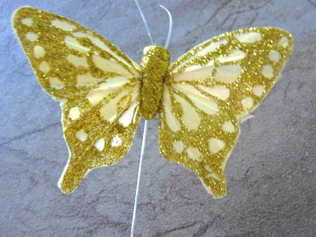 Gold Glitter Butterfly 3 Inch Feather Butterflies Floral Supplies