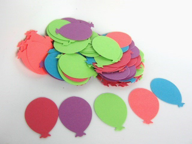 105pcs Balloon Die Cut Pink Green Blue Purple Confetti 65lb Cardstock