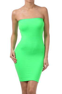 Green Tube Mini Dress Strapless Stretch tight fitted body ...