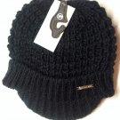 Black Michael Kors Womens Cable Knit BRIM Hat Winter Cap NWT