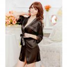 Black Sexy Silk Stain Lace Kimono Dressing Pajamas Bath Robe Babydoll Lingerie Thong