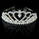 Rhinestone Crystal Heart Crown Headband Tiara Wedding Bridal Flower Girl Prom - Free ship