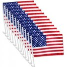 "US American Patriotic Car Window Clip USA Flag 17"" x 12"" Pack of 12 - Free ship"