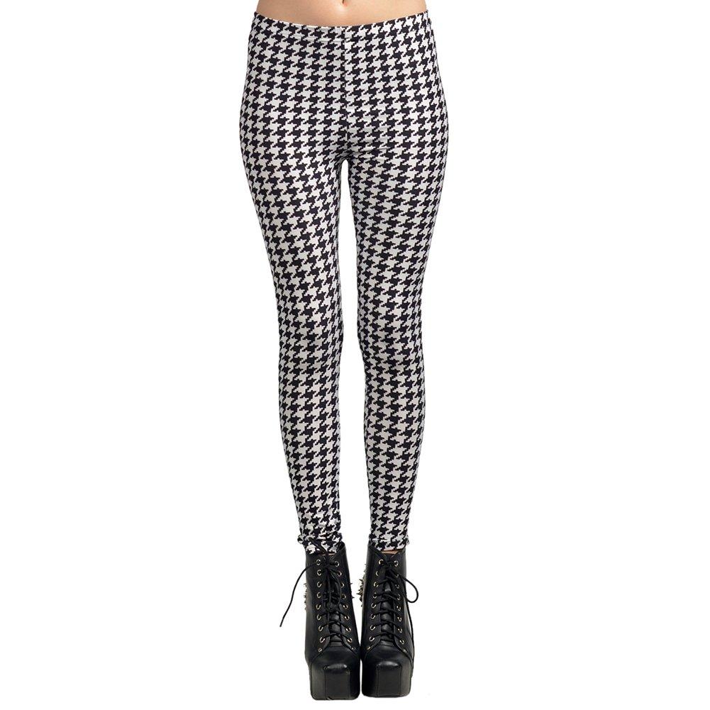 Black and White Spot Hot Sexy Lady Pattern Print Women Leggings Tights Pencil Skinny Pant Free Ship