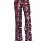 Checkered Women's Casual Stretch Pants Wide Leg Long Bohemian Loose Palazzo Trousers Free Ship