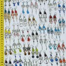 50 Pairs Alpaca Silver Colored Glass Earrings Wholesale