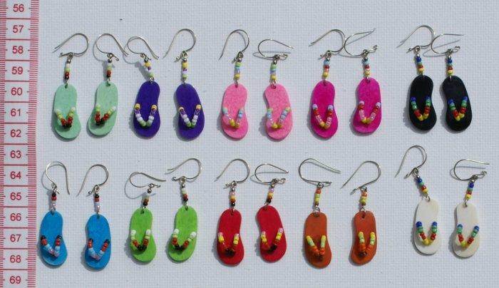 10 Pairs Color Peruvian Earrings Beach Footwear Fashion