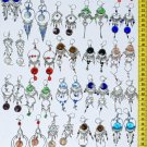 Lot 10 Alpaca Silver Dangle Earrings With Colored Glass