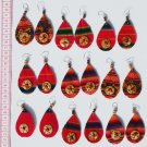 9 Pairs Dangle Red Ethnic Ornament Tribal Earrings Peru