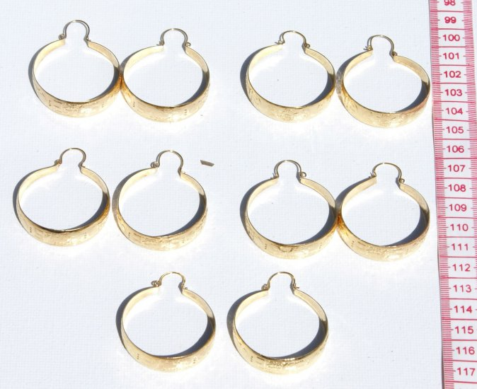 5 Pairs Hoop Earrings Yellow Costume Fashion Jewelry