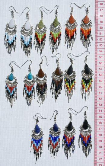 10 Pairs Handmade Earrings Piedra Stones Color Pearls