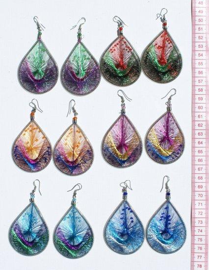 6 Pairs Big Bright Woven Handmade Thread Earrings Sale