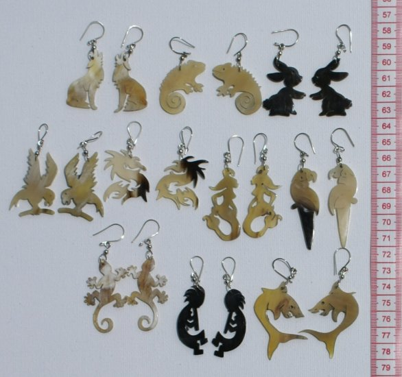 10 Pairs Carved Bull Horn Animal Carving Earrings Peru