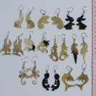 10 Pairs Carved Bull Horn Animal Carving Earrings Peru