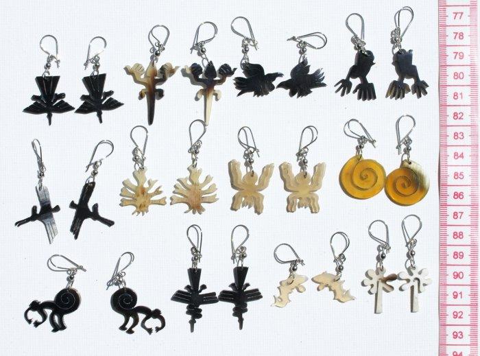 10 Pairs Carved Bull Horn Earrings Naska Lines Peru Art