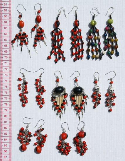8 Pairs Dangle Drop Earrings Red Tropical Seed Huairuro