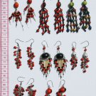 8 Pairs Dangle Drop Earrings Red Tropical Seed Huairuro