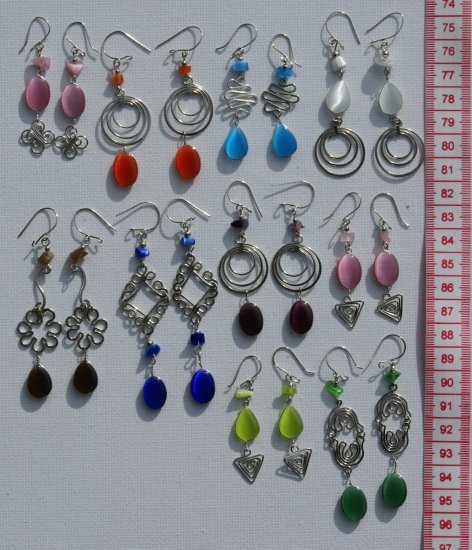 10 Pairs Fashion Dangle Drop Earrings w/ Cat-Eye Stones