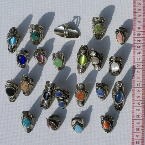 50 ethnic rings cat eye / piedra stones wholesale bulk
