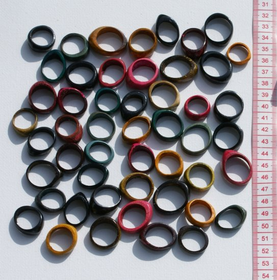 50 coconut rings, ethnic natural costume jewelry, Peru