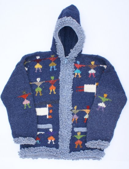 Navy Blue Cute Ethnic Crochet Sweater, Hoodie Clothes