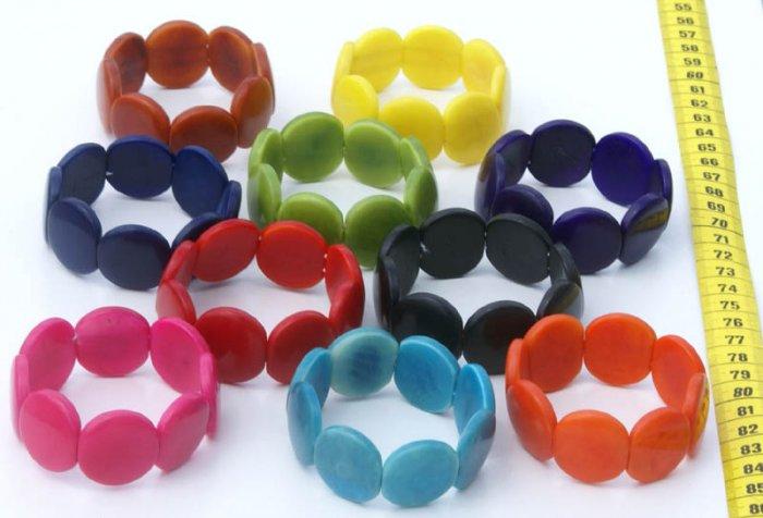 Lot 5 Color Bracelets Handmade of Tagua Corozo Palm Nut