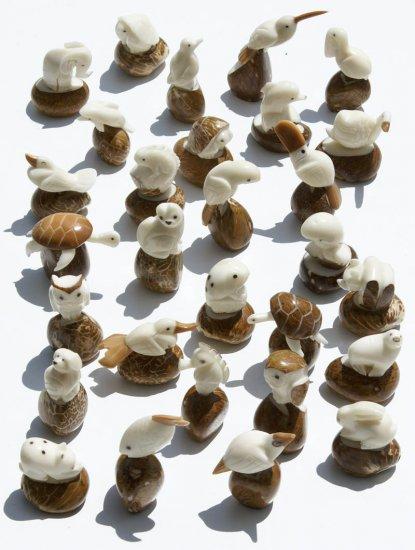 SET 10 WILDLIFE ANIMAL FIGURINES CARVING OF TAGUA NUT