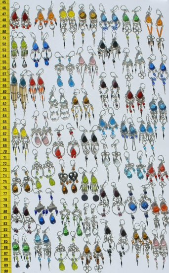 Lot 10 Handmade Dangle Earrings W/ Colored Murano Glass