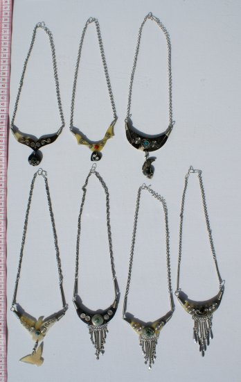5 Necklaces Hand Carved Bull Horn Tribal Jewelry Peru