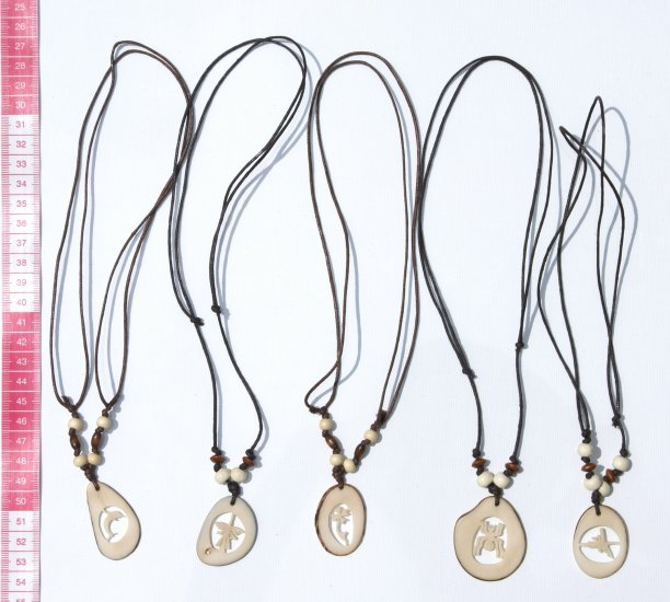 5 Necklaces White Carved Tagua Pendants Crafted Jewelry