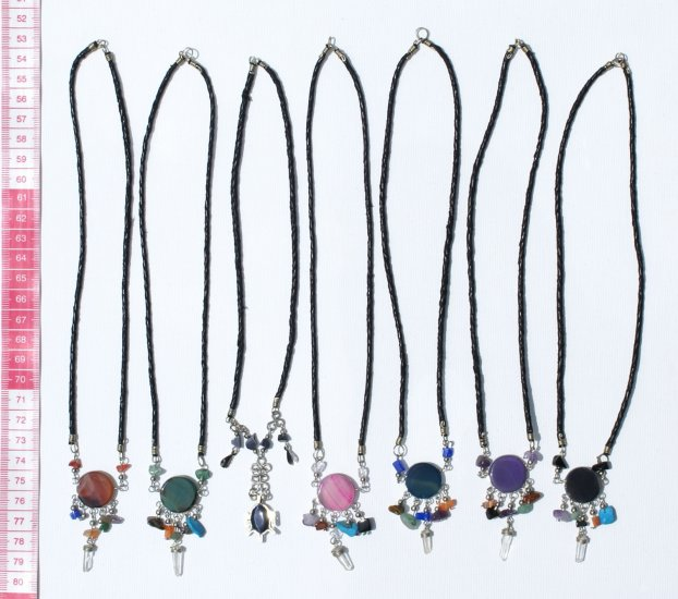 4 Necklace Round Agate Semi Precious GemStone Jewellery