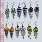 5 Pairs Tribal Peruvian Earrings Hand Paintings Drawing