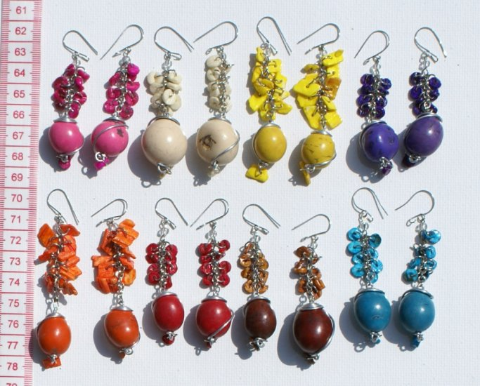 5 Pairs Color Peruvian Seed Earrings Jewelry Wholesale