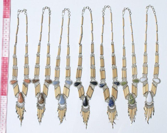 5 Necklaces Bamboo Natural Peruvian Color Piedra Stones