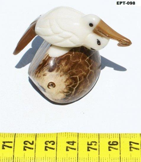 Hand Carved Pelican Bird Tagua Figurine, Art Of Ecuador