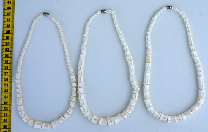 LOT 3 WHITE TRIBAL NECKLACES MADE OF FISH BONES