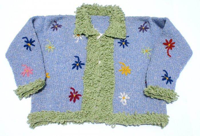 Hot Wool Crochet Cardigan Sweater V Neck Flower Pattern