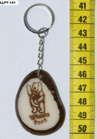 Winnie Pooh Bear Picture on Tagua Keyring, Children Art