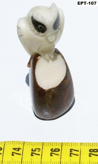 Hand Carving Tagua Figurine Of White Owl With Dark Eyes