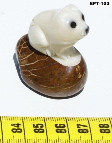 Hand Carving Pet Tagua Nut Figure Of Cat, Art Ecuador