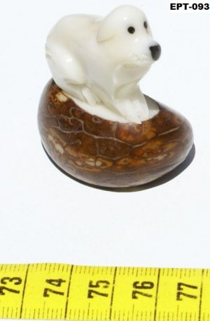 Tagua Nut Figurine Of Dog, Hand Carving Home Pet Art