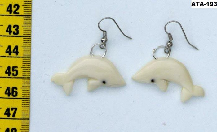 Water Animal Dangle Earrings of Fish, Tagua Carving Art