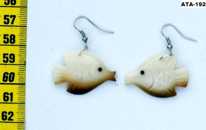 Drop Earrings of Carved Tropical Coral Fish, Tagua Art