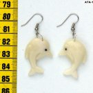 Water Animal Dangle Art Earrings of Dolphin, Tagua Nut