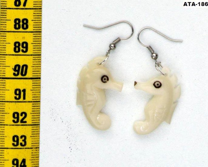 Sea Horse Dangle Carved Earrings of Tagua Nut, Ecuador