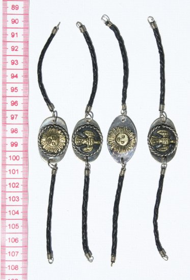 4 Leather Bracelets Metal Pendants with Tribal Signs