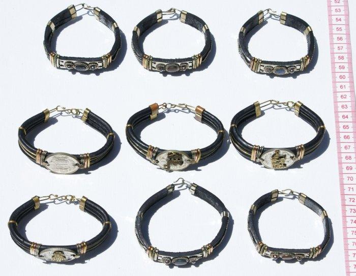 7 Black Leather Bracelets Piedra Stones Zodiac Signs